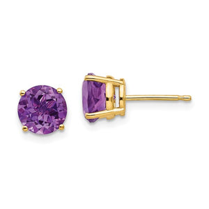 14 karat yellow gold 7 mm round amethyst stud earrings