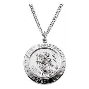 "Sterling silver 24"" round 25 mm St. Christopher pendant"