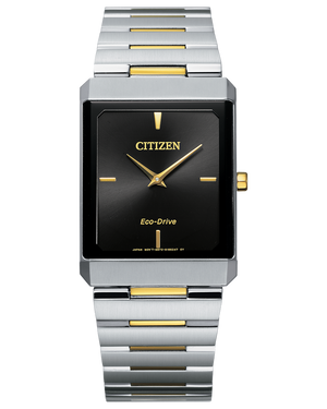 Men's two tone ultra thin Citizen bracelet square tank watch with black dial