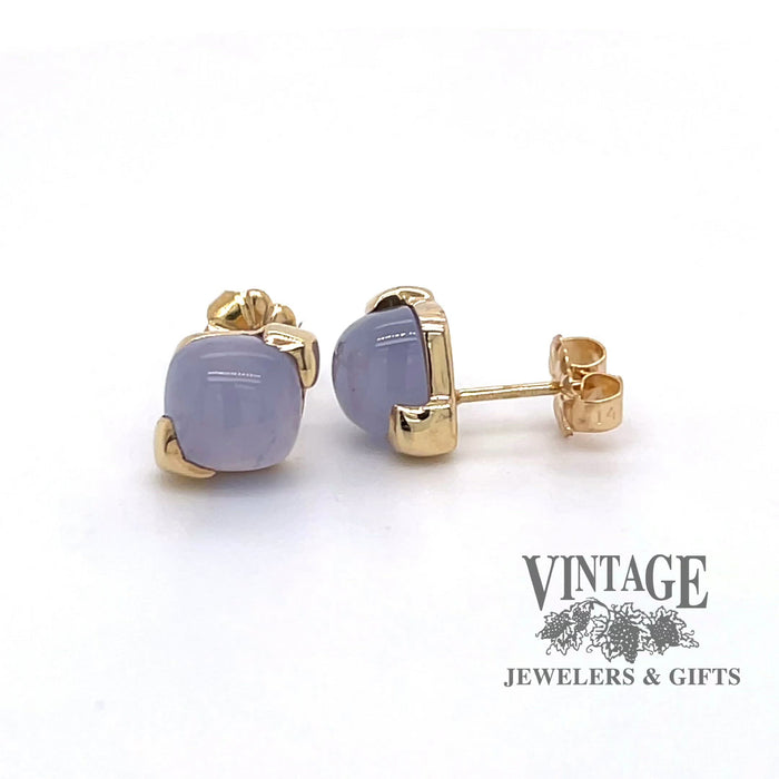 Revolving 360 degree video of 14k gold 7m cushion shape cabochon blue chalcedony stud earrings.