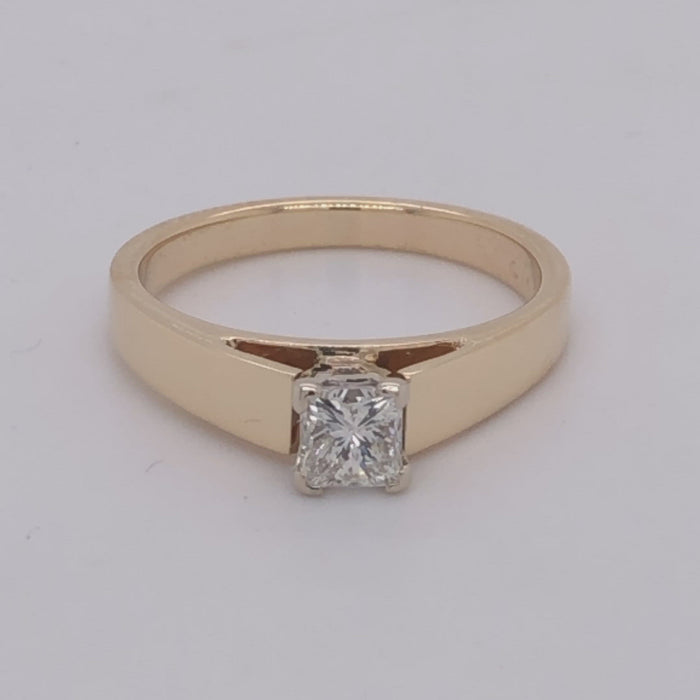 Revolving video of 14 karat yellow gold .48ct princess cut diamond solitaire ring.