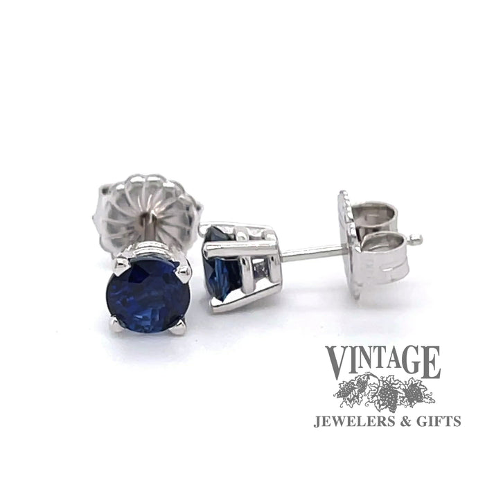 Revolving 360 degree video of 1.65 C.T.W. Blue sapphire studs in 14k white gold.