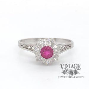 Vintage Platinum, Ruby and Diamond Filigree Ring.