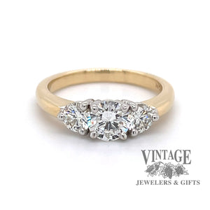 1.34 ctw.14k gold Three stone diamond ring, front view.