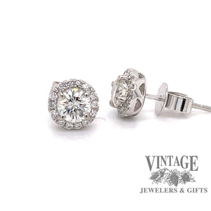1 carat total weight halo diamond stud earrings