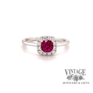 14 karat white gold ruby ring with diamond  halo