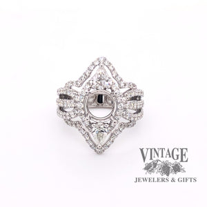 14 karat white gold pave diamond marquise shaped  semi mount ring, top view.