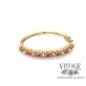 14 karat gold ruby and pearl bangle bracelet