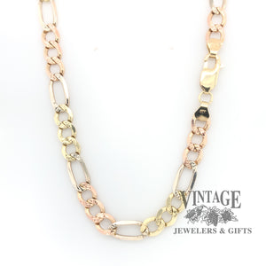 "22.5"" 14k  multi-color solid figaro chain with lobster clasp."