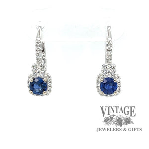18k white gold sapphire and diamond drop earrings, front view