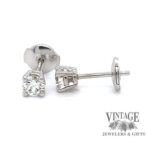 14k white gold .52 carat total weight diamond protector back  stud earrings