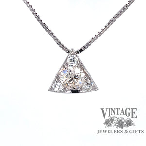 14 karat white gold OEC diamond triangular slide pendant
