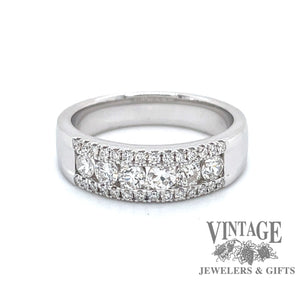 18k white gold 3 row round diamond band, front view