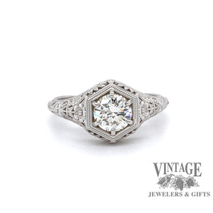 Edwardian inspired 14 karat white gold filigree .74ct I-VVS1 diamond solitaire ring