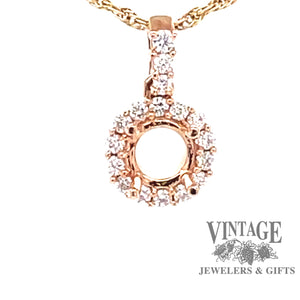 18 karat rose gold diamond halo semi mount pendant.