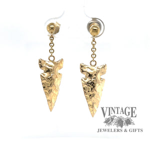 Arrowhead drop earrings in 14k gold, front view