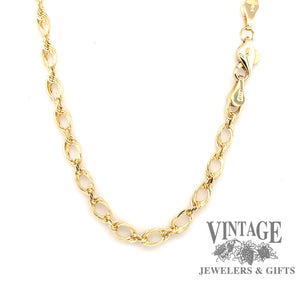 "14K  yellow gold 20"" large open oval link cable/rope chain"