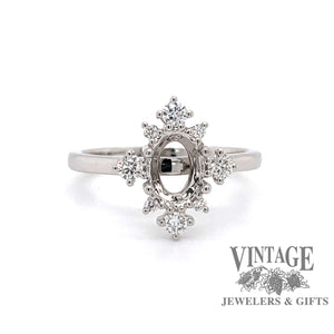 14 karat white gold diamond semi mount ring