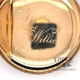 American Waltham Pocket watch in 14k multi color gold case, inside, closeup of engraving on dust cover.r.