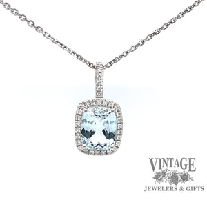 14 karat  white gold aquamarine with diamond halo pendant, front