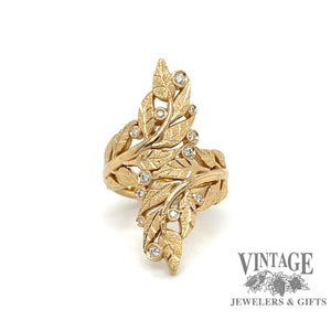 Leaf motif and diamond 18k gold bypass ring,  front view