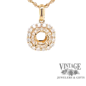 14 karat yellow gold cushion shaped halo diamond semi mount pendant.