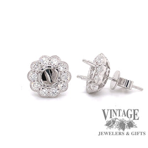 Scalloped 18 karat white gold halo diamond semi mount earrings