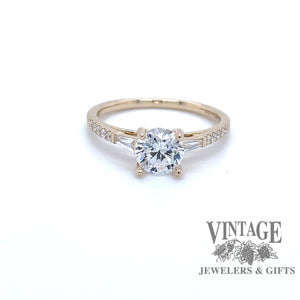 14 karat yellow gold diamond semi mount ring for round stone, front view