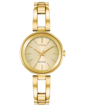 Ladies Eco drive yellow tone watch with fashion bracelet