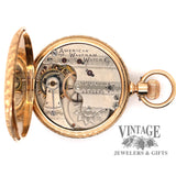 American Waltham Pocket watch in 14k multi color gold case, open view of movement.