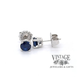 1.65 C.T.W. Blue sapphire studs in 14k white gold, front and side view.