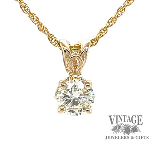 14k yellow gold .71 carat round brilliant diamond pendant