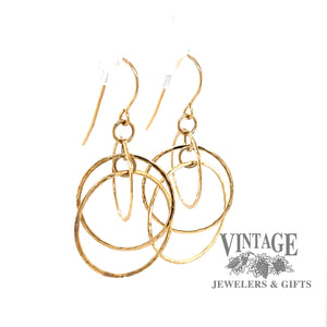Hammered 14k multi hoop drop earrings