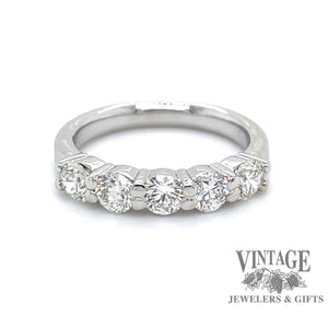 5-Diamond wedding band in 14 karat white gold, front view