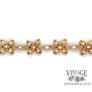"7"" Pearl basket and diamond 14 karat yellow gold link bracelet"