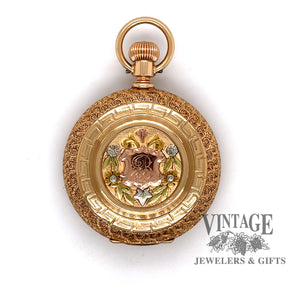 American Waltham Pocket watch in 14k multi color gold case, front cover featuring cartouche and Initial.
