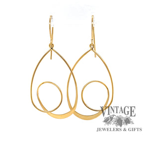 14 karat yellow gold spiral drop earrings from front