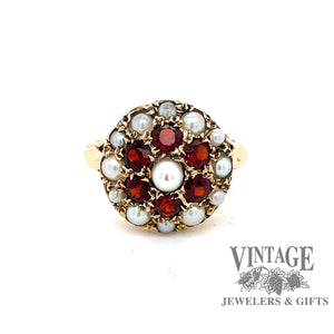 9 karat yellow gold pearl and garnet  antique estate cluster style ring, front