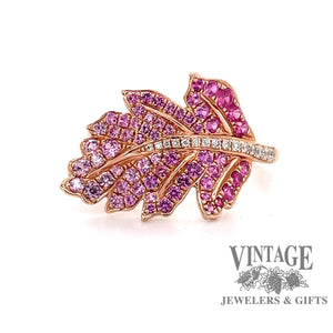 14 karat rose gold leaf design ring with pave pink sapphires and diamonds, front