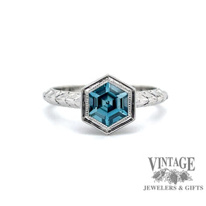 14 karat white gold Hexagonal Blue Zircon hand engraved ring, front view