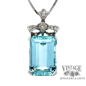 Aquamarine and diamond vintage platinum pendant, front