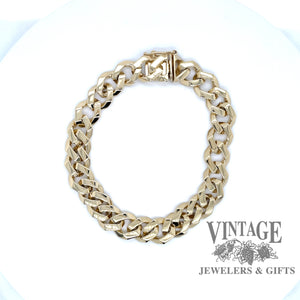 "14 karat yellow gold 8.75"" solid curb link bracelet"