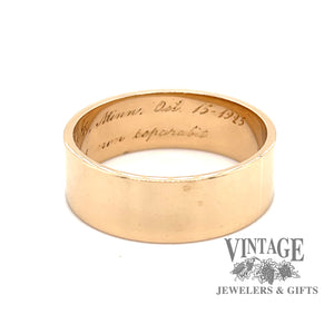 Vintage 14k gold flat ring band