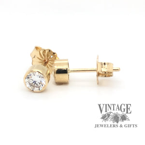 .50 CTW 14k yellow gold bezel set diamond studs