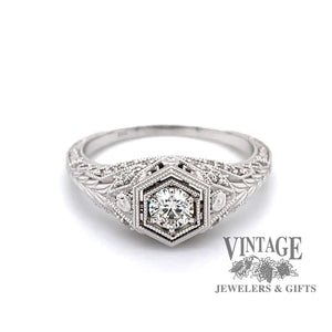 Edwardian inspired 14 karat white gold ring with .25ct diamond center, front view