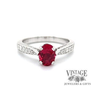 Red Spinel and diamond 18k white gold ring, top