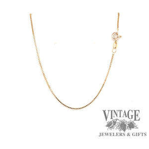 "14 karat yellow gold 16"" .85 mm box chain"