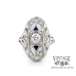 Vintage 18k white gold filigree OEC diamond and sapphire ring