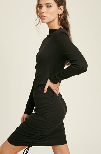 Black Ruched Adjustable Dress