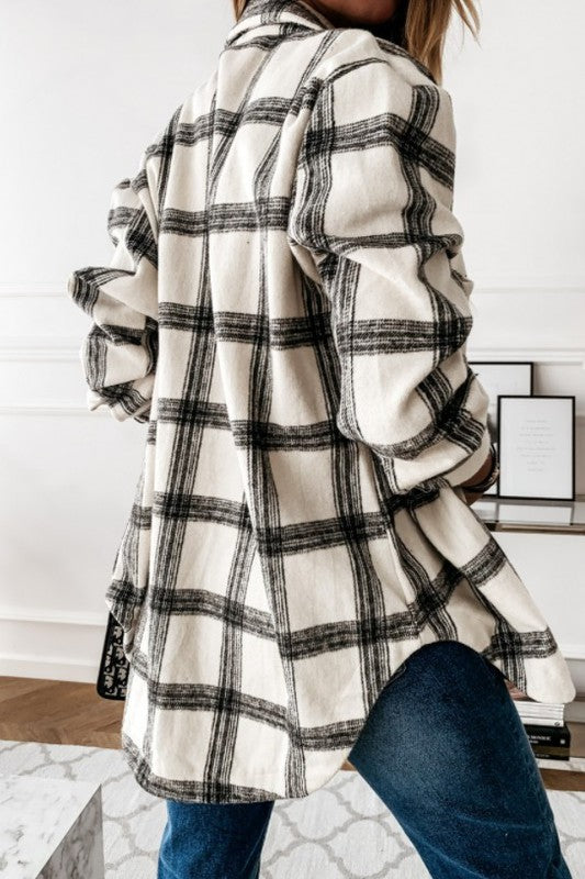 Katie Black and White Flannel Shacket